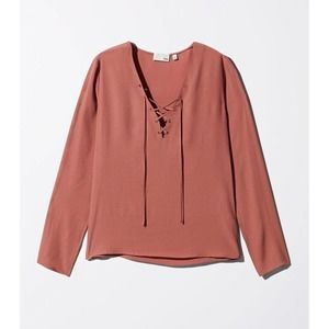 Aritzia Wilfred Free Redling Lace Up Blouse Large